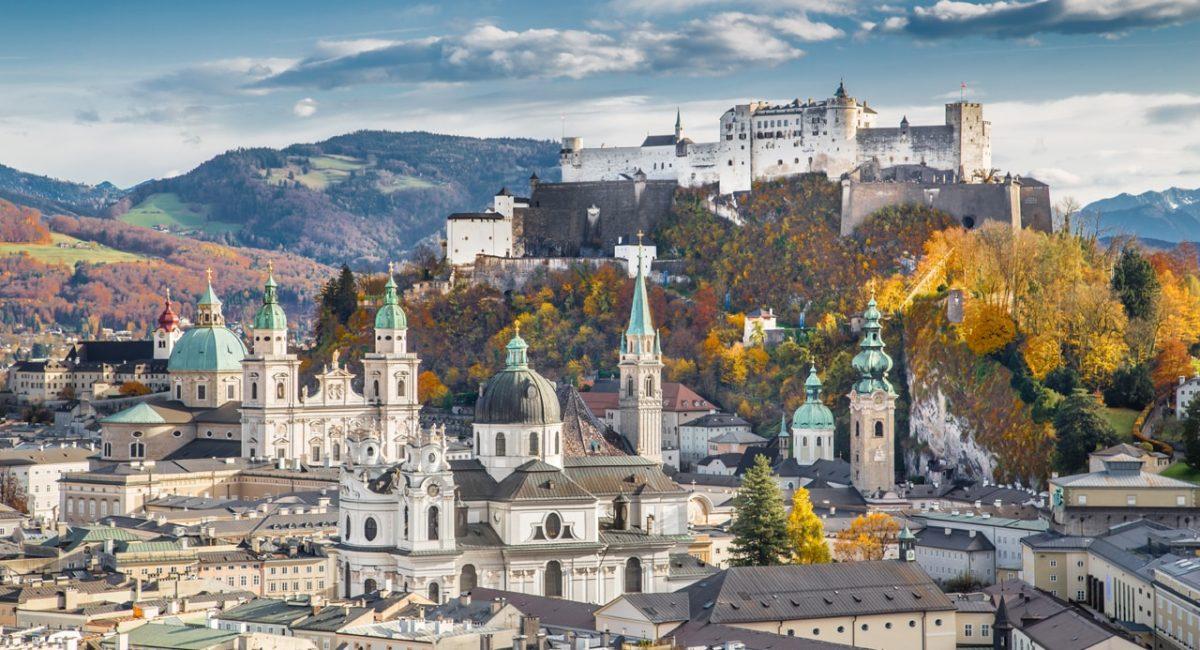 Historic city of Salzburg in fall, Austria-min